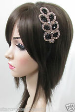 Vintage Black and Gold Leaf Bead Diamante Headband Flapper Headpiece 1920s E61