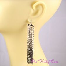 Large 2-Tone Silver & Black Multi Strands Chains Tassels Statement Drop Earrings