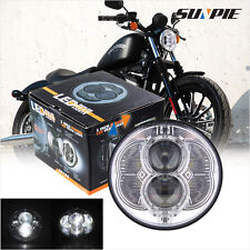 "Motorcycle 5'' H4 High Low Projector Lamp Chrome 5-3/4"" LED Headlight For Harley"