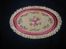 VICTORIAN DARK VIOLET  ROSES OVAL MINI RUG FOR  MINIATURE  DOLLHOUSE