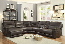 SENECA - 6pcs Faux Leather Recliner Sofa Couch Chaise Sectional Set Living Room