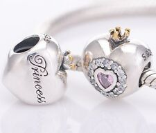 PRINCESS HEART 925 Sterling Silver Solid European Charm Bead for Bracelet