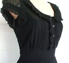 SIZE 12 40'S WW2 LANDGIRL VINTAGE STYLE BLACK TEA DRESS PLEATED # EU 40 US 8