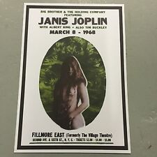 JANIS JOPLIN - CONCERT POSTER FILLMORE EAST NEW YORK 8TH MARCH 1968 (A3 SIZE)