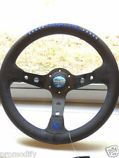 320mm Blue Star Leather Deep Dish Steering Wheel OMP MOMO Nardi Vertex Style