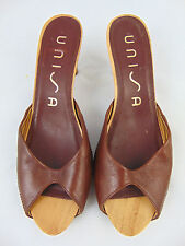 Women VINTAGE Shoes UNISA NUMAR Brown Leather Sandal Heels UK Size 7.5