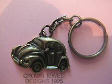 HANDMADE BRONZE ALLOY VOLKSWAGEN BEETLE KEYRING ORGANZA GIFT BAG CLASSIC CARS