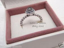 JUNE BIRTHDAY BLOOMS Authentic PANDORA Silver/Grey MOONSTONE Ring Sz 6/52 NEW!