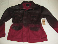 True Religion Isabelle Parka Jacket -Rigid Twill - Claret- Size Large - $298