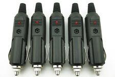 5pcs 12V Male Car Cigarette Lighter BU Socket Plug Connector With Fuse Red LED