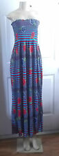 FLORAL STRIPE BLUE RED ROSES SUMMER ELASTIC DRESS MAXI LONG STRAPLESS LARGE