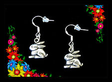 SILVER BUNNY RABBIT ANIMAL DANGLE EARRINGS~CUTE EASTER GIFT~.925 STERLING WIRES
