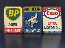 MICHELIN / ESSO / BP Vintage Style METAL SIGN Garage Wall Decor 16x12Cm Set Of 3