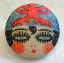 """1920s Flapper Girl Button Hand Printed Fabric """" Elaine 1 """"  Free US SHIPPING"""