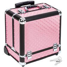 Valise cosmétique Alu Trolley bagages valise de maquillage case à bijoux rose