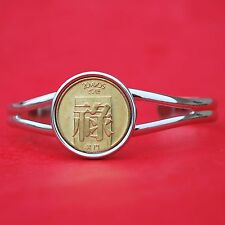 RARE Macao Macau 1982 20 AVOS Chinese Good Fortune BU Coin SP Cuff Bracelet NEW
