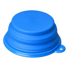Dog Cat Pet Silicone Collapsible Travel Feeding Bowl Water Dish Feeder Blue M