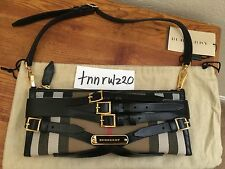 New Authentic Black House Check Bridle Buckles BURBERRY Clutch Bag NWT
