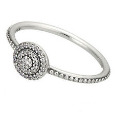 ELEGANCE Ring 925 Solid Sterling Silver Round Radiant Pave Band Size 7 / 54