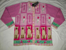 NEW Storybook Knits L Large cardigan Sweater CATS Siamese Cats Pink