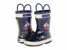 Kamik Navy/Off White Sailboat Rain Boots  100% Waterproof  Little  Boys Size 10