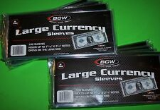 1000 BCW LARGE BILL CURRENCY SLEEVES, 2 MIL THICK, FITS 7-9/16 X 3-1/4 NOTES