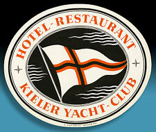 SCHÖNER ALTER KOFFERAUFKLEBER LUGGAGE LABEL 40er HOTEL KIELER YACHT CLUB * * RAR
