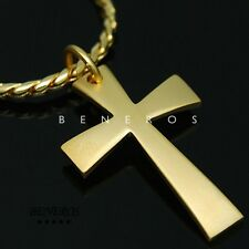 Simple Cross Pendant Chain Necklace 18k Gold Plated Mens Biker Hip Hop Jewelry