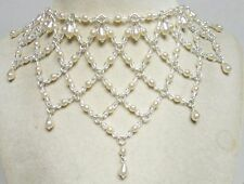 Vintage 70's Chunky Plastic Pearl Glass Crystal Bead Bib Necklace White