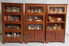Dolls house miniature Triple Walnut Style Museum Collector's Cabinets