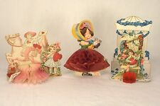 3 ANTIQUE 1920's GERMAN VALENTINES DAY CARDS FOLD OUT STANDING DIE CUT HONEYCOMB