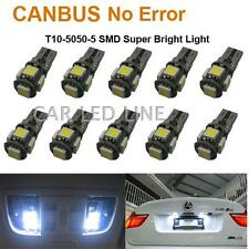 10) W5W 194 168 CANBUS ERROR FREE White T10 5-SMD 5050 LED Interior Light Bulbs
