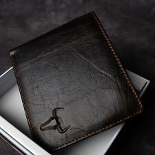 BlueMount Genuine Leather Men's Bifold Wallet  Purse with Zipper Coin Slot 2222