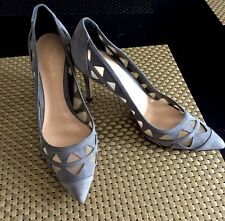 GIANVITO ROSSI Gray Suede Mesh Cutout  Pointed Toe Pumps Shoes Size 7.5 37.5