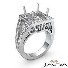 Split Shank Halo Diamond Engagement Ring Princess Semi Mount  14k White Gold 1Ct