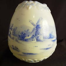 1880's Fostoria Consolidated 'Astoria' Tulip Form Delft Windmill Kero Oil Shade