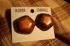 Vintage Laquered Wood Button CLIP ON EARRINGS 1 Pair