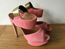 KURT GIEGER LADIES HOT PINK SUEDE PEEP TOE SLING BACK HIGH HEELS UK6 EUR39