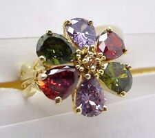 Cubic Zirconia Ring Flower Shape Gold Colored Size 8 MultiColor Red Green Purple