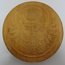 Signed Clarence A. Wells Haida Round Drum Box  Collectible Wood Hand Carved