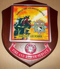 Norfolk Fire and Rescue Service wall plaque personalised free of charge..