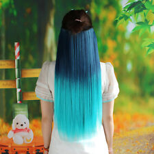 Straight Hair Piece Ombre Dip Dye Party Salon Clip In Extensions Malachite Green