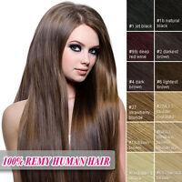 "Clip In 100% Real Remy Human Hair Extensions Full Head 16""18""20""22""24""26''"