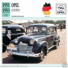 OPEL OLYMPIA 1951 1953 CAR VOITURE GERMANY DEUTSCHLAND ALLEMAGNE CARD FICHE