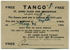 "1935 ""FREE TANGO"" Coupon [Atlantic City, NJ]"