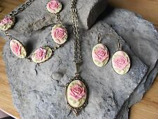 PINK  ROSE CAMEO NECKLACE, 5 CAMEO BRACELET AND EARRINGS SET- TAN-- BRONZE