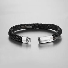Silver bracelet Genuine Leather Chain stainless steel special design