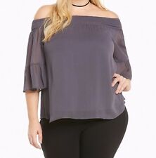 Torrid Gray Chiffon Off Shoulder Top Size:  0 10 0X #3370