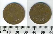 GREAT BRITAIN 1960 - Half Penny Bronze Coin - Queen Elizabeth II - Golden Hind