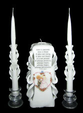 White & Precious Moments, hand-carved wedding unity candle set - SALE! (AP1)